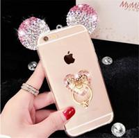 Wholesale Diamond Phone Case Diy - For Samsung J530 J730 J330 J5 J7 Prime G530 2017 J2 Prime J510 J710 Cute Mouse Ear Lovely Bling Diamond Phone Case finger Ring Handmade DIY