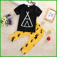 Wholesale Boys Leopard Shirts - 2016 hot selling toddler summer boy outfits O-neck black short sleeve t-shirt geometric styleanimal yellow pants boy clothing