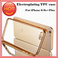 Wholesale Electroplated Iphone Case - Ultra thin Clear Transparent Cases Luxury Electroplating Edge Frame Protective Crystal TPU Soft Plastic Covers For iphone6 6s iphone 6 Plus