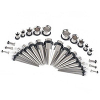 Wholesale 32Pcs Stainless Steel Acrylic G G Tapers Plugs Ear Gauges Expander Stretching Kit