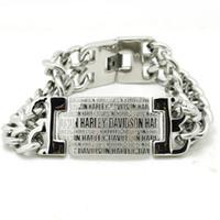 Wholesale Motor Hobby - 2106 hot sellings Silver Letter Biker Style Bracelet 316L stainless steel motor biker bracelet