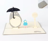 Wholesale Wholesale Xmas Paper - Anime Totoro 3D Laser Cut Pop Up Paper Holiday Handmade Happy Birthday Postcards Custom Xmas Greeting Cards Gifts