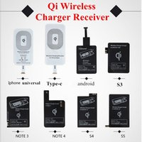 Wholesale Galaxy S4 Qi Wireless Charger - Qi Wireless Charger Receiver Module High Speed Charging Adapter For iPhone 7 6 6S Plus 5S Samsung Galaxy S4 S5 Note3 Note4 Type-C