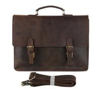 Wholesale Leather Cowboy Bags - Wholesale- 7223R-1 JMD Cowboy Crazy Horse Leather Men's Briefcase Laptop Bag Handbag Messenger Bag