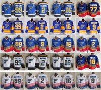 Wholesale St Louis Hockey Jerseys - Throwback St. Louis Blues Jerseys Ice Hockey Retro 16 Brett Hull 99 Wayne Gretzky 2 AL MacINNIS 9 Shayne Corson 9 Doug Gilmour