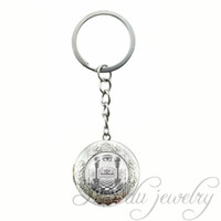 Wholesale Black Keys Signed - 2017 Theory Photo Glass Locket Pendant Freemason Sign Illuminati Secret Masonic Key Chains Conspiracy Eye of Providence Key Ring