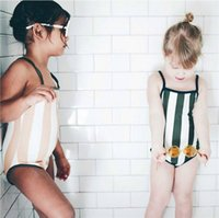 Wholesale Boys Swimwear One Piece - INS Summer New children swimsuit baby Girls vertical stripe suspender swimwear kids Siamese swimsuits boys stripe Swimming trunks 7397