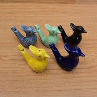 Wholesale Clay Ornaments Wholesale - Water Bird Whistle Clay Birds Ceramic Glazed Peacock Whistle Birthday Gift Boy Baby Shower Favor Ornament ZA4814