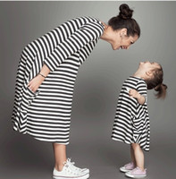 Wholesale Clothing For Family - Striped parent-child clothes parentage dresses cotton O-neck one-piece dress for mother and daughter family matching outfits