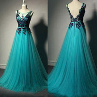 Wholesale turquoise women dresses - Turquoise Sheer Neck Lace V Back Plus Size Pregnant Dress for Women Middle East Prom Gowns Reals Long Arabic Lace Evening Dresses