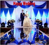 Wholesale centerpieces for wedding tables purple silver online - 10m Per m Wide Wedding Centerpieces Aisle Runner Mirror Carpets For Wedding T Station Decoration Gold Silver Purple Rose Red color
