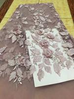 Wholesale Tecido Polyester - 2017 Novos Chegada Contas de Alta Qualidade bordado Africano Tecido de Renda Francesa 3D applique frisado tule francês lace tecidos HX138