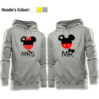 Wholesale Mouse Boys - Wholesale-Fashion Casual Tops Cute MR Mouse MRS Mouse Head Printed Hoodies Couples Lovers Sweatshirt Boy Girl Men Women