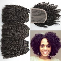 Wholesale 4a Human Hair Weave - 4a,4b,4c Afro Kinky Curly Human Hair Weave Bundles With Lace Closure Natural Black Free Middle Three Part Closure G-EASY