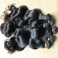 Wholesale Virgin Brazilian Hair Weft Brown - 7A Brazilian Hair Extensions Dyeable Natural Color Peruvian Malaysian Indian Virgin Hair Bundles Body Wave Human Hair Weave Double Weft