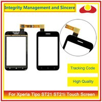Wholesale St26i Digitizer - High Quality For Sony Xperia Ericsson Xperia Tipo ST21 ST21i J ST26i ST26 Miro ST23i ST23 Touch Screen Digitizer Sensor Front Glass Lens