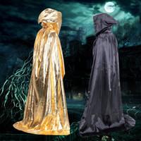 gümüş renkli siyah pelerinler toptan satış-Cadılar bayramı Cosplay Ölüm Sihirbazı Pelerinler Altın Gümüş Kırmızı Siyah Pelerinler Unisex Kadınlar için Cadılar Bayramı Partisi Karnaval Kostümleri Erkekler