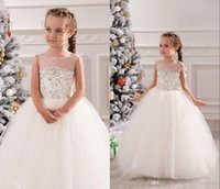 Wholesale Dresse Wedding Ball - Cute White Lace Long Tulle Sheer Neck Ivory Baby Girls Birthday Party Rhinestone 2016 Jewel Ball Gown Christmas Princess Flower Girl Dresse
