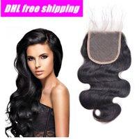 "Wholesale Elite Brazilian Hair - DHL Free Shipping 100% Brazilian Virgin Hair Closure Lace Closure Body Wave 4""x3.5"" 8""-20"" Free Part Elites Hair Top Closure"