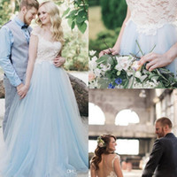 Wholesale Top Sexy Online - Bohemia Wedding Dresses Sheer Jewel Neck Backless Country Garden Wedding Gowns Lace Top Custom Made Bridal Dresses 2018 Online Sale
