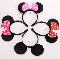Wholesale Hairpins Decorations - Children mickey and Minnie mouse ears headband girl boy headband kids birthday party supplies decorations