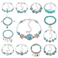 accesorios turquesas al por mayor-Pulsera de moda al por mayor de la vendimia turquesa con cuentas pulsera para accesorios de joyería infinito bohemio plata pulseras del encanto