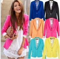 Wholesale Women Fashion Blazers - Women Casual Slim Solid Suit Blazer Jacket Coat Outwear Women Fashion Candy Color Fashion Jacket Office OL Slim Tops Casual Blouse KKA2737