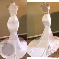 Wholesale Cheapest Black Halter Neck Dress - Halter Neck White Prom Dresses 2017 Newest Lace Top Mermaid Evening Party Gowns Backless Prom Dress Cheapest