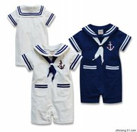 Wholesale Summer Body Suit Baby Boy - Summer Body Baby Boy Sailor Suit Romper Jumpsuit Kids Clothes Infant Clothing Macacao Ropa Bebe Newborn Baby Rompers