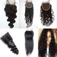 Wholesale Malaysian Lace Closure Bleached Knots - Cheap Lace Closure Water Wave mongolian Human Hair Brazilian Peruvian Virgin Hair Lace Closure with Bleached Knots BW LW St DW FDSHINE