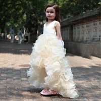 Wholesale Charm Fur Vest - 2017 Charming Flower Girls Dresses For Weddings Cheap High Low Ruffles Princess Party Girls Pageant First Communion Dress For Kids Teens