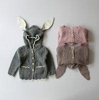 Wholesale Christmas Pink Cardigan - Girls Sweater Christmas Kids Clothing 2016 Autumn Winter Cute Rabbit Ears Sweater Korean Fashion Long Sleeve Cardigan Sweater