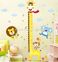 Wholesale- [Fundecor] Diy Giraffe Altura Gráfico Medida Wall Stickers Decoração de parede Cartoon Animal Park Kids Baby Room Decoration