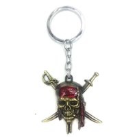 Wholesale Caribbean Masks - Keychain - Pirates of the Caribbean Captain Jack Metal Mask pendant Pendant Key Ring Chain Size (5 * 6cm)