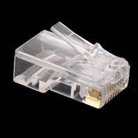 Wholesale wholesale cat5 cable - Wholesale- Wholesale 100Pcs lot Clear RJ45 RJ-45 UTP CAT5 Crystal Modular Plug Ethernet Lan Networking Network Connector