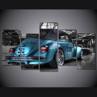 blue beetle pictures - 5 Panel HD Printed The beetle blue car Painting Canvas Print room decor print poster picture canvas wall art paintings for living room