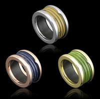 ingrosso anello giallo della resina-Anelli whorl in resina blu / verde / marrone moda, oro giallo / oro rosa / metallo color argento / gioielli in acciaio inossidabile titanio uomo