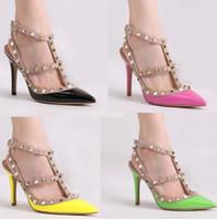 Wholesale Women Pink Pumps Rhinestones - High Quality V brand Rivets pumps high heels shoes genuine leather Rivets shoes Wedding Shoes Woman's High-heeled shoes 6cm Heel 35-42