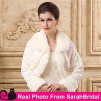 Wholesale Cheap Ruffle Coat - Cheap In Stock Ivory Bridal Wraps Wedding Party Bridesmaid Jackets for Brides Bridesmaid Cover up Capes Coat Shrug Shawl Bolero Long Sleeve