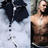 Wholesale men's jewelry for sale - Hot sale Men s charms Necklace Beads Chain Rosary Cross pendant Necklaces Solid Silver David phenomenon fashion jewelry
