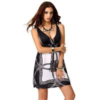 Wholesale Ms Ice - In 2016 Ms Sexy Fashion Summer V-neck Accept Waist Dress Big Yards Ice Silk Dress
