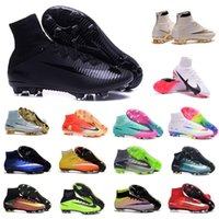 Wholesale Boot Shoes Boy Leather - Mens CR7 Mercurial x EA SPORTS Superfly V FG Soccer Shoes Magista Obra 2 Boys Soccer Cleats Women Football Boots Youth Cristiano Ronaldo