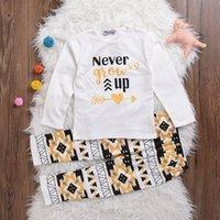 """Wholesale Girl Baby Grow Tutu - INS Kids Baby Girl Clothes Sets Little Girls """"Never Grow Up"""" letter print T-shirt and Maple Leaves Pants Outfit"""