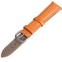 bracelet de montre en cuir de crocodile achat en gros de-En gros 10 Sangles Nouveau 12mm 14mm 16mm 18mm 20mm 22 mm 24mm Orange Crocodile Grain En Cuir De Veau Véritable Veau En Cuir Montre Bracelet