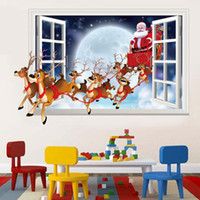 Wholesale Christmas Wall Decorations For Glass - Christmas decorations wall stickers wall Santa Claus render imitation 3D effects fake window wall sticker diy christmas party gift wholesale