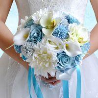 açık bahçe çiçekleri toptan satış-Açık Mavi ve Krem Renkli Gelin Düğün Buket 2019 Yaz Plaj Bahçe Düğün Parti Akşam Nedime Çiçekler Dekorasyon WF064
