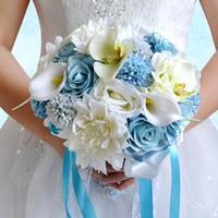 flores do jardim luz venda por atacado-Azul claro e creme colorido buquê de casamento nupcial 2019 Summer Beach Garden festa de casamento noite dama de honra flores decoração WF064