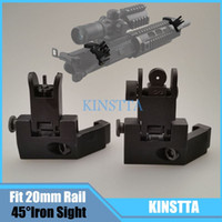 Wholesale Offset Iron Sights - Hunting Tactical AR15 Airsoft Front and Rear flip up 45 Offset Degree Rapid Transition Backup Iron Sight Fit 20mm Picatinny rail
