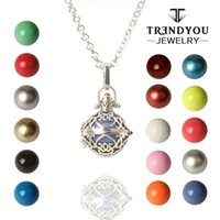 Wholesale Bola Silver Pregnancy Necklace - TRENDYOU Bola Ball Harmony Bolas Pregnancy Ball Pendant Musical Ball Necklace Angel Bell DTZ16614-2