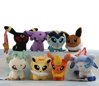 Wholesale Pokemon Figure Movie - Poke Plush Toys 5 inch 8pcs set Umbreon Eevee Espeon Jolteon Vaporeon Flareon Glaceon Leafeon Animals Soft Stuffed Dolls toy 13CM EMS